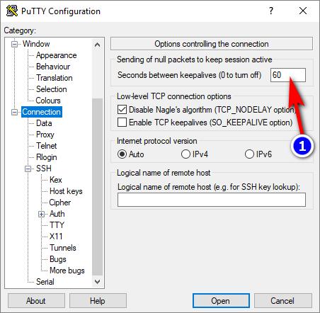 PuTTY/plink: P?ipojení p?es SSH tunel se po ?ase automaticky odpojí. Jak udržet p?ipojení stále aktivní (keepalives)?