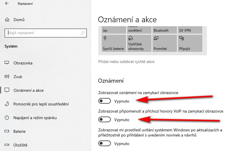 Windows 10: Jak vypnout zobrazování notifikací na zam?eném po?íta?i?