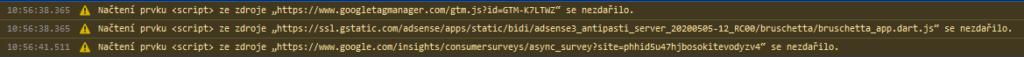 Rozbité rozhraní Google AdSense kv?li AdBlock Plus